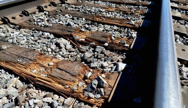 Damaged railroad ties after winter