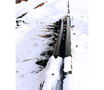 RR Winterizer sprayed on the rail before snowfall